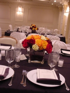 Another look at how the centerpieces came together with the black tie look