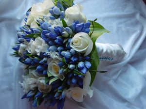 The bride wore a beautiful bridal bouquet of white roses and blue gentiana buds wrapped in a beautiful cream french ribbon and finished with periwinkle pearl pins.