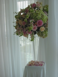 A closer look at the lush arrangement that framed the wedding ceremony in this fabulous Battery Gardens Restaurant corner