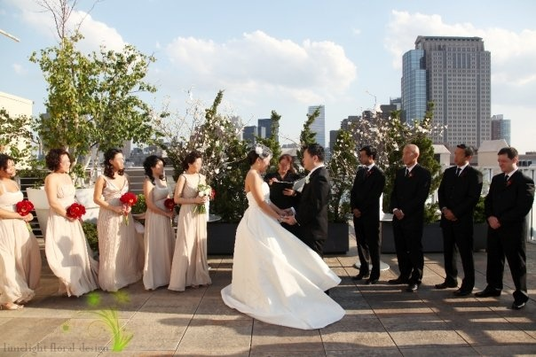 wedding ceremony at tribeca rooftop nyc