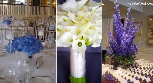 The centerpiece in the picture features Dutch Blue Hydrangea. The wedding took place in the month of August, when hydrangea is nt neesarily in season, but this particular color is only specific to Holland greenhouses.The huge blue delphinium in the next picture has been brought from Holland as well.