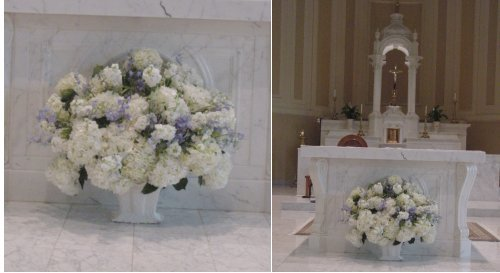 Church arrangement of hydrangeas and Delphinium