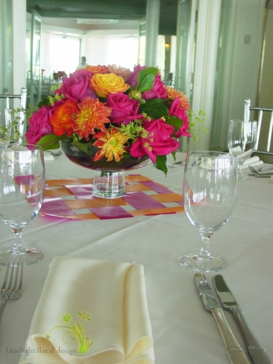 Orange and pink wedding in compotiere Battery Garden Restaurant