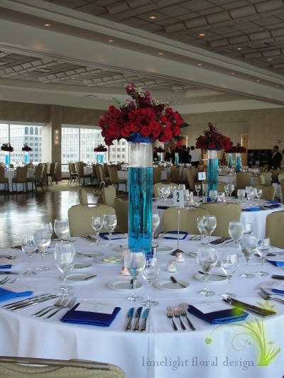 Hyatt Jersey City blue and red tall centerpiece
