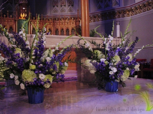 Blue ceremony flowers for the cermony at St. Henry's Church in Bayonne.
