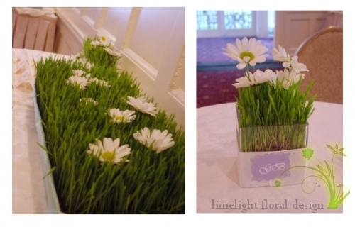 Wheat Grass card table and cocktail hour centerpiece