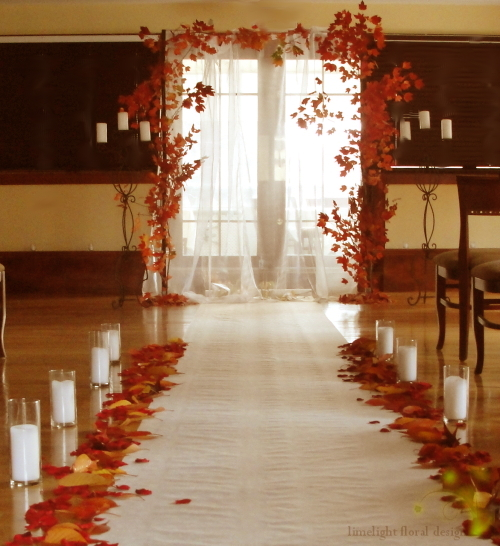 Limelight Floral Design Chuppah with autumn branches and leaves