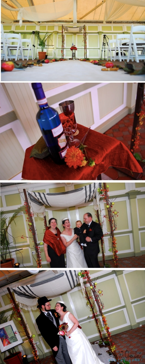 Liberty house restaurant simple Chuppah with grandfather prayer shawl