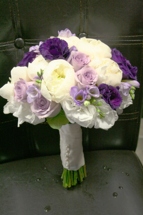 Lavender and white bridal bouquet
