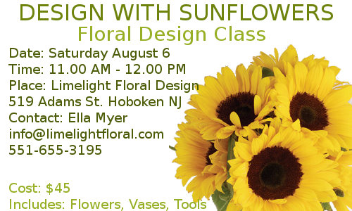 August Floral Design Class for  ladies in Hoboken