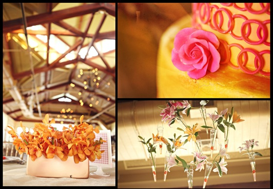 Orange orchids in gold, hanging centerpieces, Liberty House wedding