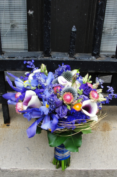 Blue flowers bouquet Limelight Floral Design Hoboken NJ