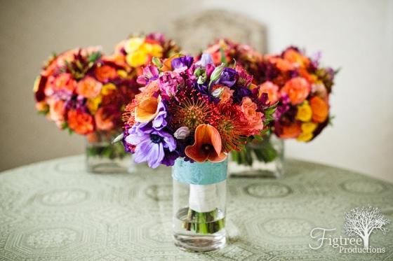 bridal bouquet orange and purple