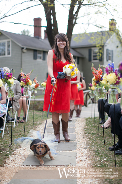 outdoor wedding ceremony with dog and mason jars  NJ Wedding Flowers Limelight Floral Design