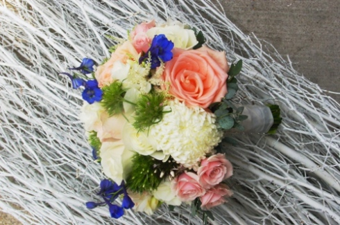 Maritime Parc wedding flowers - pink, peach and white bouquet  NJ Wedding Flowers Limelight Floral Design