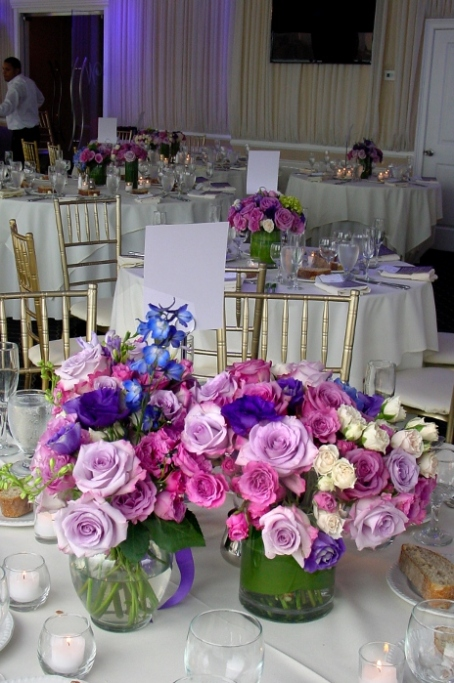 NJ Wedding Flowers Limelight Floral Design Purple roses hydrangeas centerpiece hoboken florist