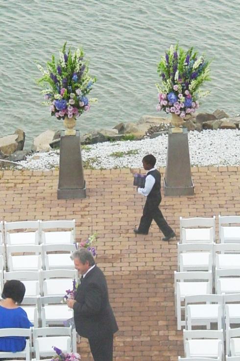 Purple and blue ceremony decor, urns, stands, large scale arrangement  NJ Wedding Flowers Limelight Floral Design