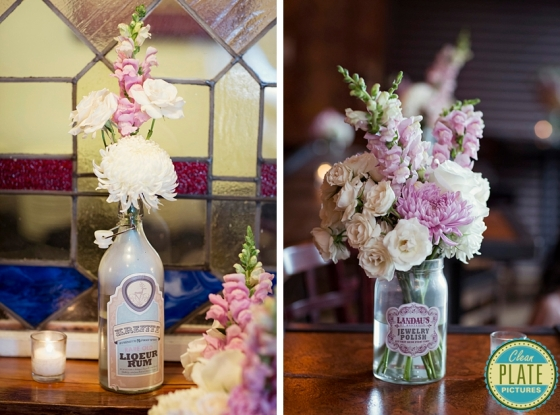 pink and white snapdragons and football mums in jars  NJ Wedding Flowers Limelight Floral Design