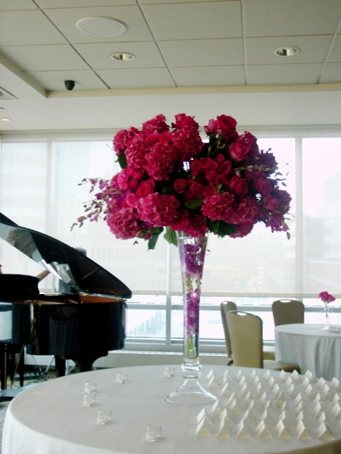 NJ Wedding Flowers Limelight Floral Design Hot pink hydrangea wedding flowers at Hyatt Regency Jersey City by Limelight Floral Design, Hoboken Florist