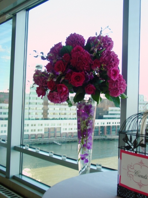 NJ Wedding Flowers Limelight Floral Design Hot pink hydrangea wedding flowers at Hyatt Regency Jersey City by Hoboken Florist