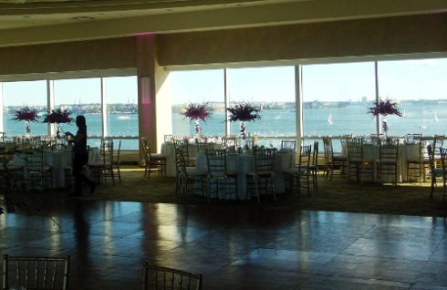 NJ Wedding Flowers Limelight Floral Design Hot pik orchid centerpieces at Hyatt Regency wedding