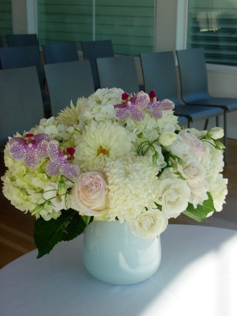 NJ Wedding Flowers Limelight Floral Design Wedding ceremony small flower arrangement at Martime Parc jersey City wedding by Limelight Floral Design