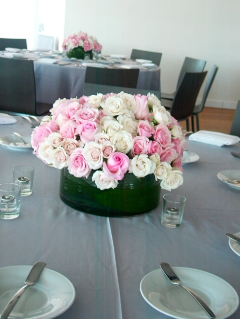 NJ Wedding Flowers Limelight Floral Design White and pink rose centeprieces in low vases at Maritime Parc wedding by Limelight Floral design Hoboken Florist