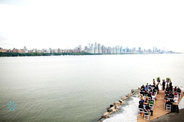 Waterside ceremony on the Hudson by Limelight Floral Design, Hoboken NJ  NJ Wedding Flowers Limelight Floral Design