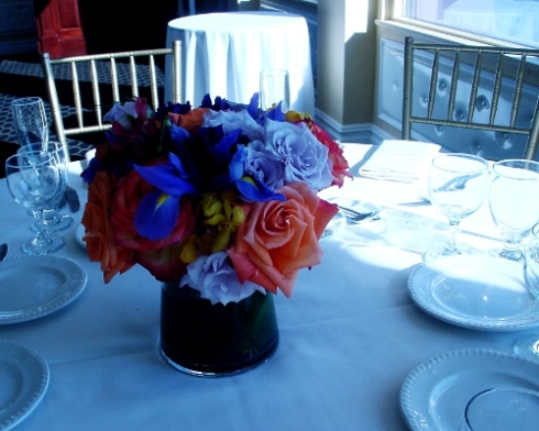 Frank's Waterside NJ wedding flowers blue and orange wedding centerpiece