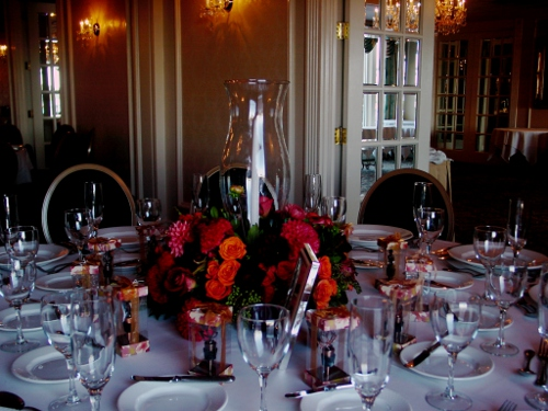 Autumn wedding candle centerpiece at Molly Pitcher Inn Wedding Flowers Limelight Floral Design