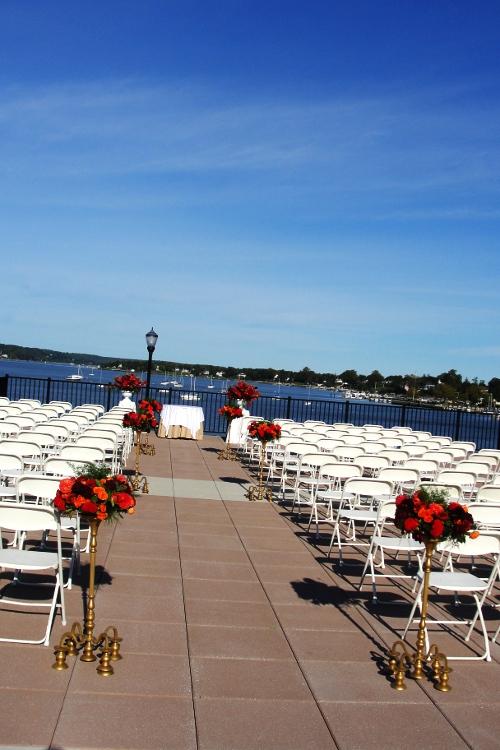 Molly Pitcher Inn wedding ceremony  NJ Wedding Flowers Limelight Floral Design