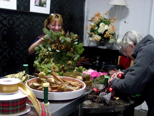 Christmas Wreath class Limelight Floral Design Hoboken NJ florist floral design class