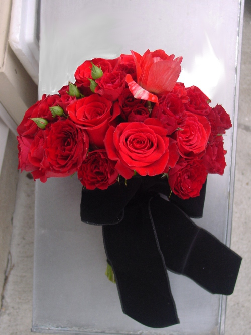 red rose bridal bouquet by Limelight Floral Design Hoboken Jersey City wedding florist