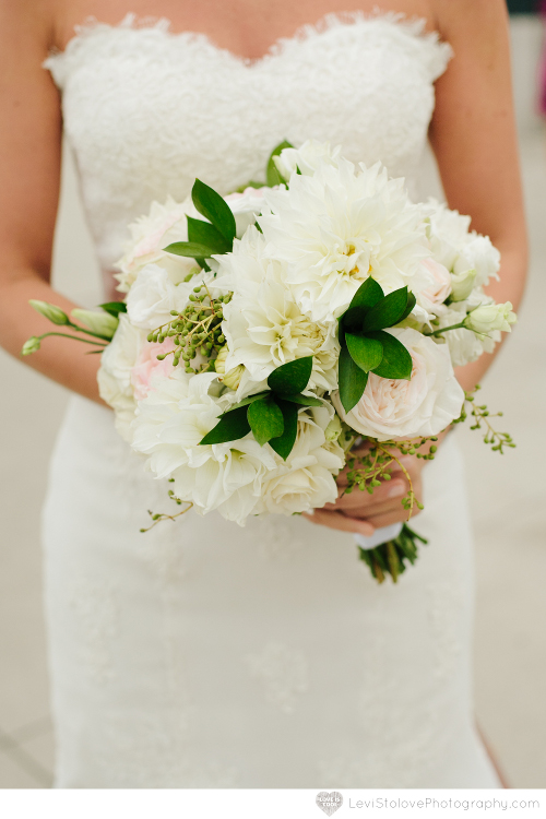 NJ Wedding Flowers White bridal bouquet at Liberty House Restaurant wedding by Limelight Floral Design hoboken NJ