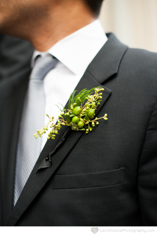 NJ Wedding Flowers Limelight Floral Design Green berries boutonniere Limelight Floral Design Hoboken Jersey City wedding at Liberty House