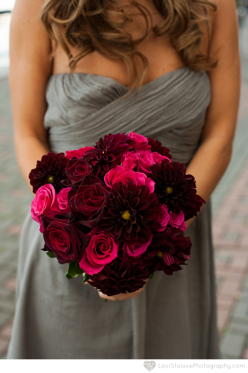 NJ Wedding Flowers Limelight Floral Design Raspberry bridesmaid bouquet with gray dress by Limelight Floral Design Hoboken Jersey City florist