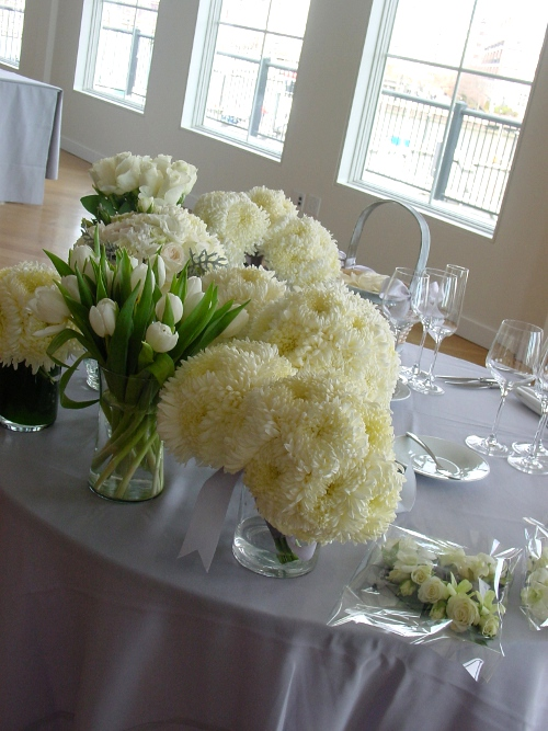NJ Wedding Flowers Sweetheart Table at Maritime Parc Restaurant Jersey City floral decor