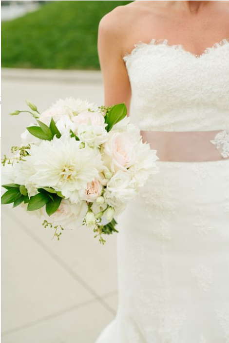 White Bridal bouquet at Libery house Restaurant  NJ Wedding Flowers Limelight Floral Design