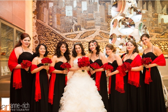 Red bridal bouquets by Hoboken Florist  NJ Wedding Flowers Limelight Floral Design