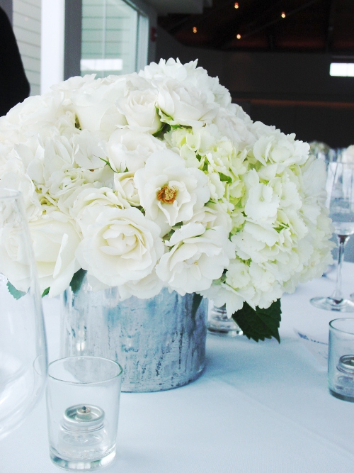 Maritime Parc centerpiece white hydrangeas roses  NJ Wedding Flowers