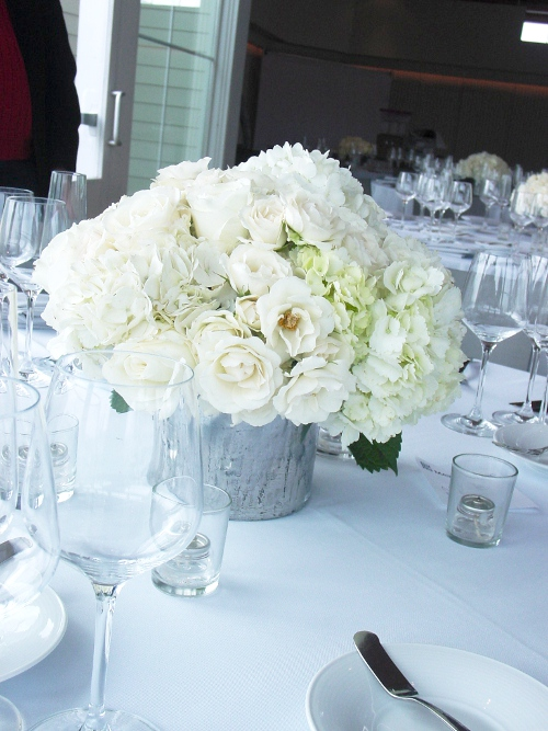 Maritime Parc centerpiece white hydrangeas roses hoboken florist  NJ Wedding Flowers