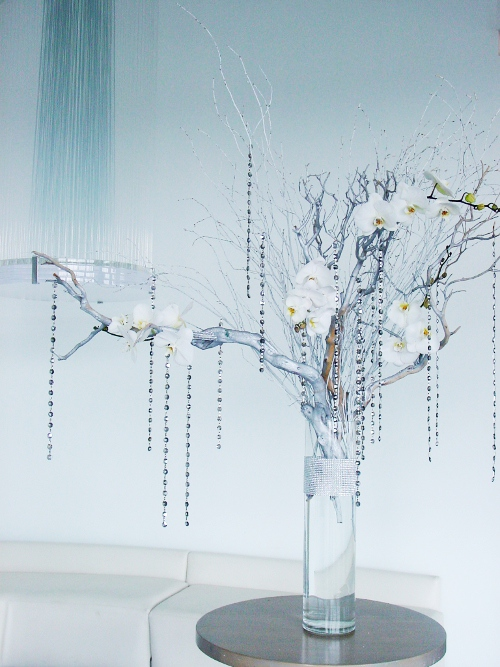 Maritime Parc centerpiece white silver branches  NJ Wedding Flowers