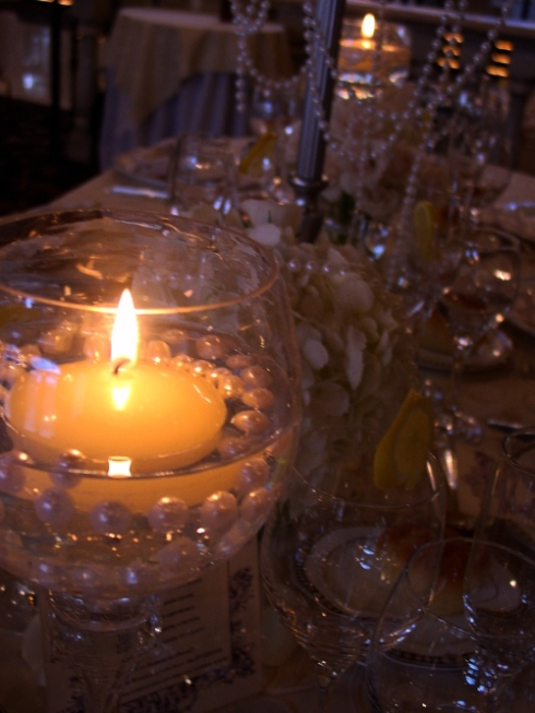 wedding at nanina's in the park by Hoboken Jersey city florist floating candles with pearls