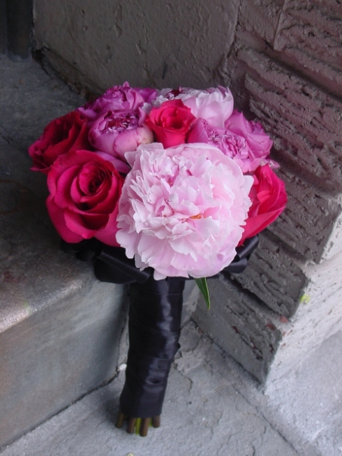 Pink Peony Wedding Bridesmaid Bouquet by Limelight Floral Design Hoboken NJ for the Venetian Garfield NJ