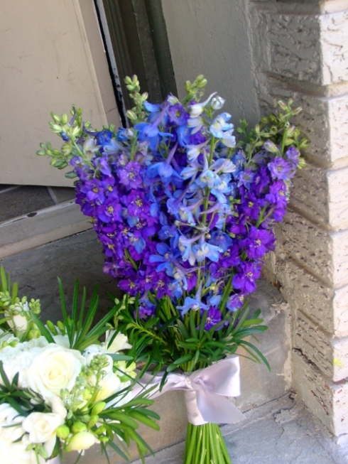 Purple Larkspur and blue delphinium bridal bouquet Purple wedding theme