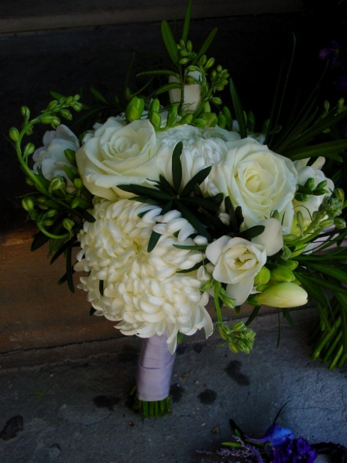 White Garden Bouquet for bridesmaids Hope NJ Inn at Millarce Pond Hoboken Florist