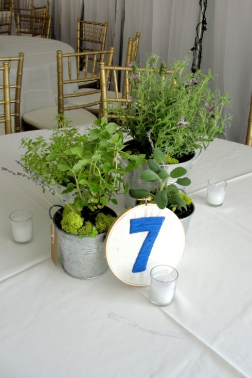 Lavender, mint, thyme and sage herbs as wedding centerpieces by Limelight Floral Design Hoboke NJ florist