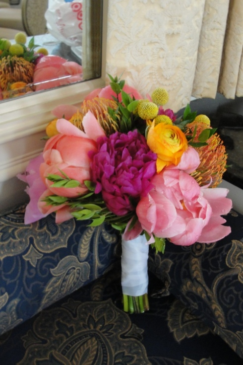 Limelight Floral Design wedding bouquet Indian wedding peonies and ranunculus by Hoboken Jersey CIty florist
