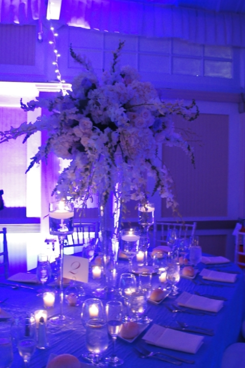 Liberty House Restaurant Jersey City NJ wedding flowers and decor white rochid arrangements