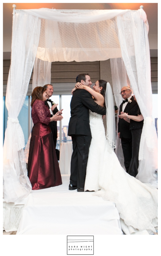 White fabric chuppah at Hyatt Regency Jersey City
